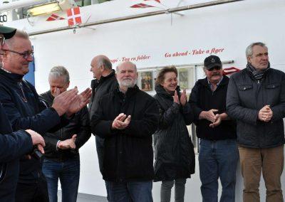 Fremmødte gæster, i midten ses tidl. Borgmester Torben Jensen, Norddjurs som var foregangsmand for den nuværende Kabelfærge